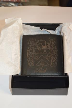 family crest leather wallet